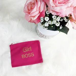 GIRL BOSS PINK & GOLD COSMETIC BAG